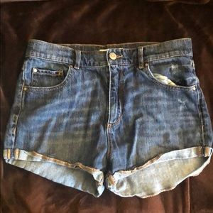 Garage retro high waisted shorts, dark wash